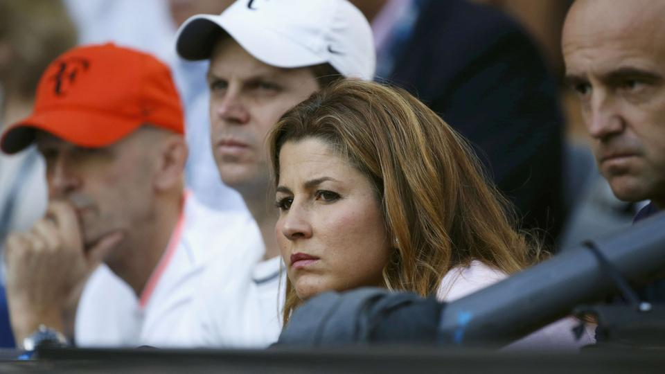 Federer's wife Mirka looks tense during the men's final on Sunday.  (REUTERS)