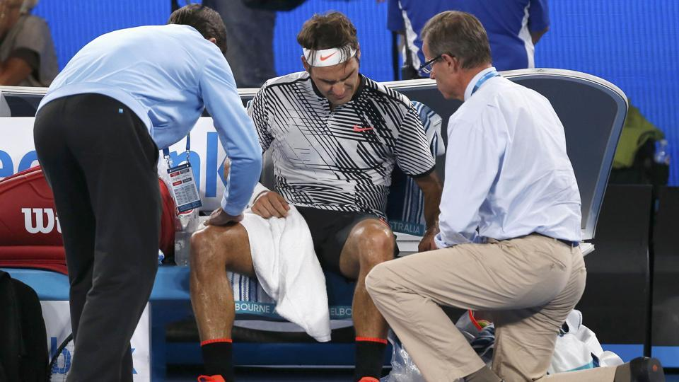 Roger Federer had to receive medical attention during his final on Sunday.  (REUTERS)