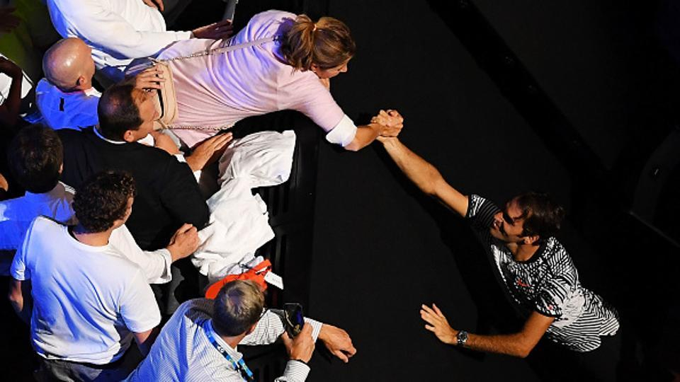 Mirka congratulates her husband after his historic feat. (Getty Images)