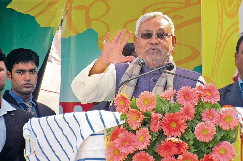 Bihar chief minister Nitish Kumar addressing a  rally at Suggi-Amas village in  Gaya district.
