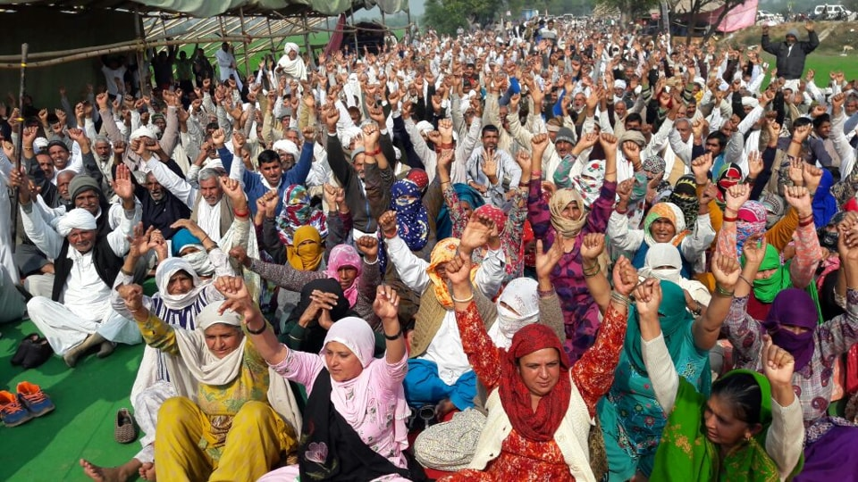 Jat protesters raising slogans during a dharna at Jassia village in Rohtak on Monday.