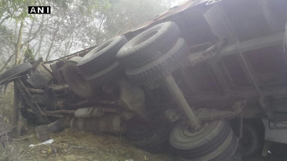The truck after it collided with a bus on NH 28 in Sant Kabir Nagar.