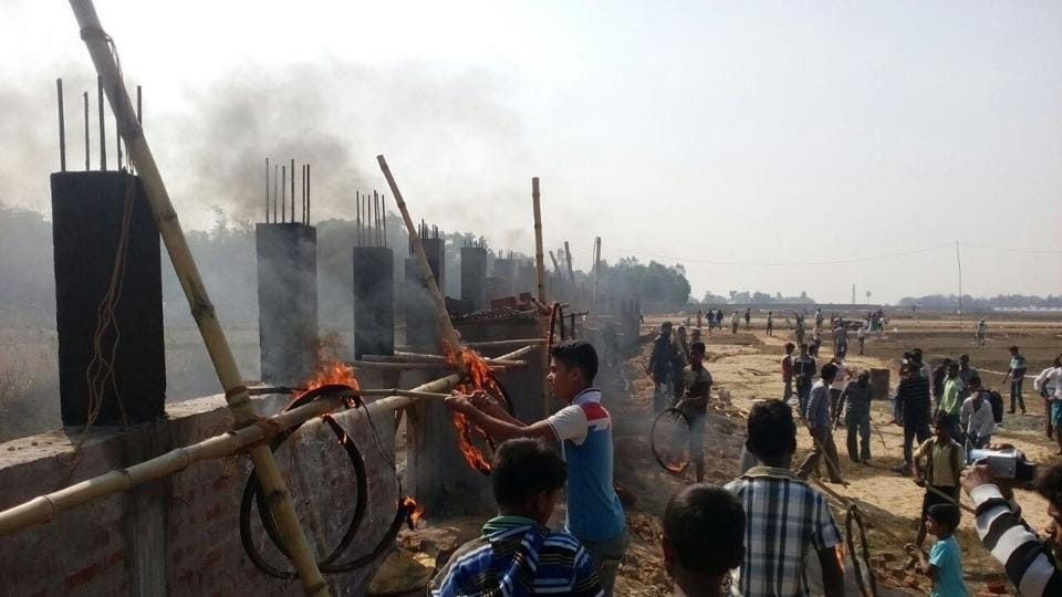 Villagers chased away workers and threw burning tyres at the construction site on Monday morning.