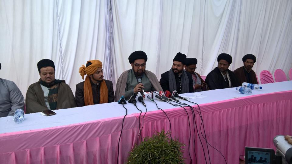 Shia cleric Maulana Kalbe Jawad  addressing a press conference in Lucknow on Monday.