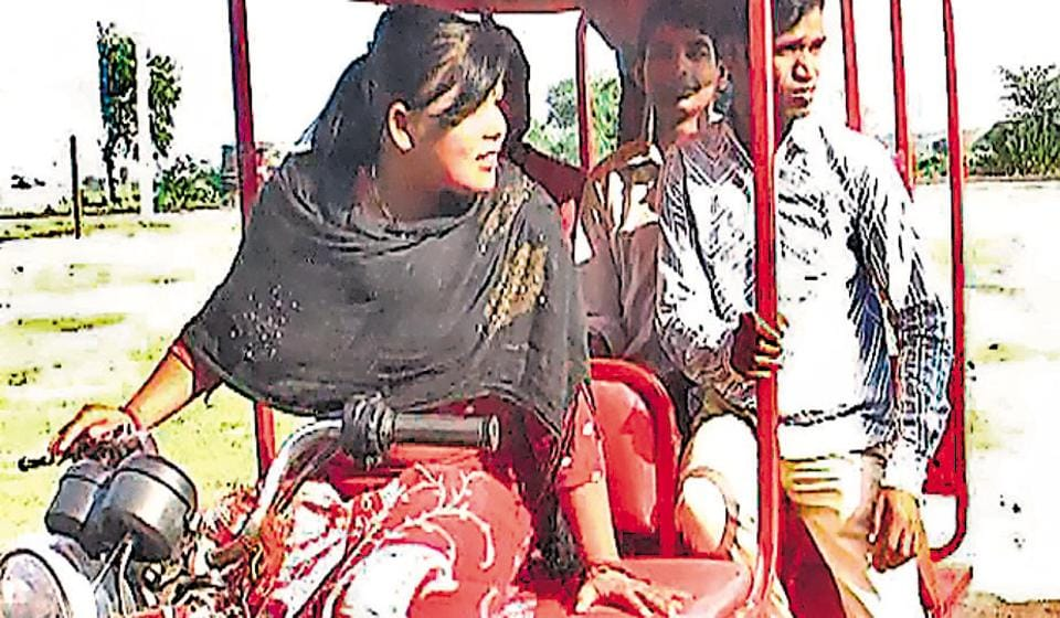 Soni Devi on e-rickshaw in Purnia.