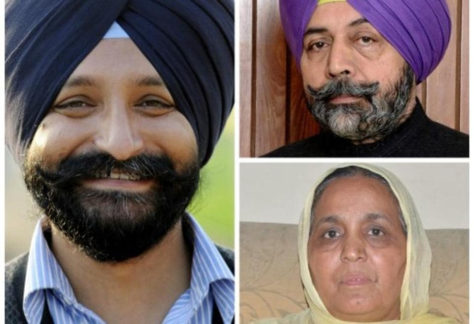 (clockwise from left) Harinderpal Singh Chandumajra (SAD), Harinderpal Singh Harry Mann (Congress) and Kuldeep Kaur Tohra (AAP).