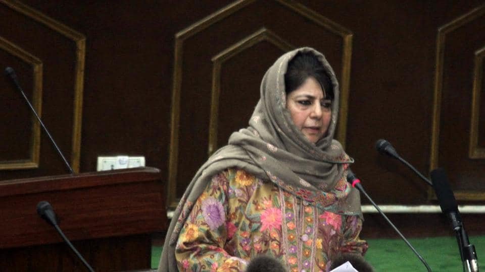 J-K chief minister Mehbooba Mufti addressing the Legislative Assembly during the Budget Session  in Jammu on Monday.