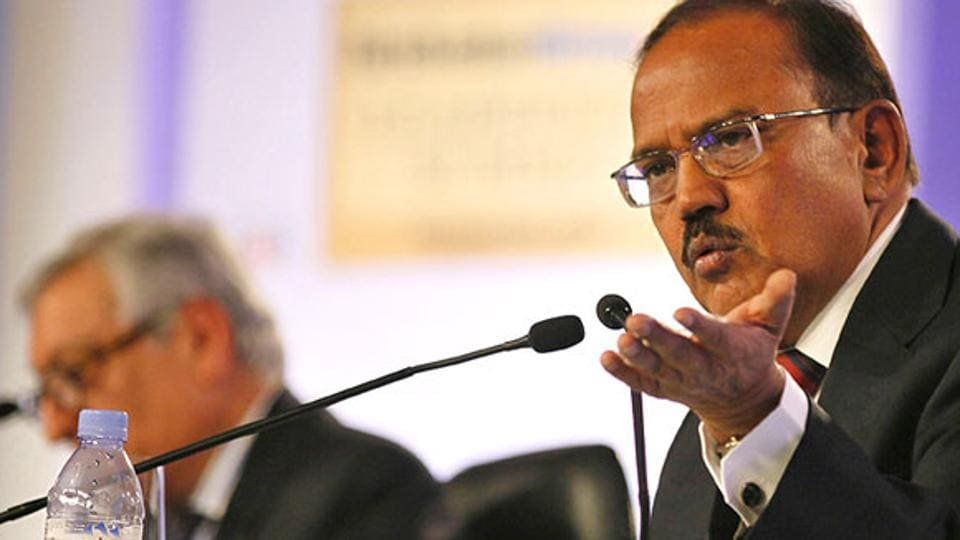 National security advisor Ajit Doval at the session titled 'India's Future Security Threats' at the Hindustan Times Leadership Summit in New Delhi on Saturday. (Raj K Raj/ HT Photo)