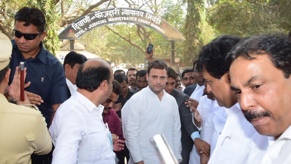 Congress vice-president Rahul Gandhi outside Bhiwandi court on Monday.