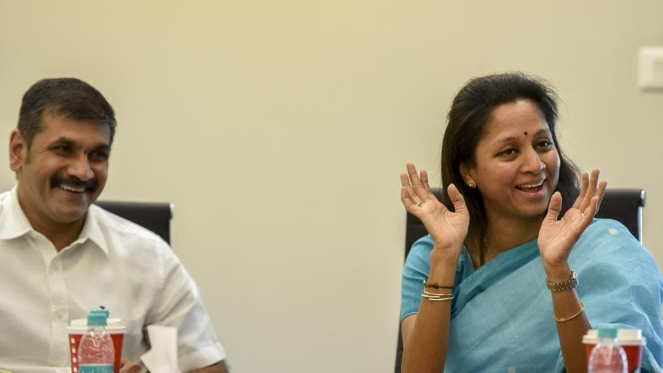Mumbai NCP chief Sachin Ahir and party leader Supriya Sule interact with HT journalists in Parel on Monday.