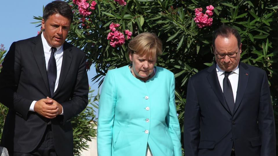 (Left to right) Italy Prime Minister Matteo Renzi, German chancellor Angela Merkel and French president Francois Hollande discuss the post-Brexit EU in August, 2016.