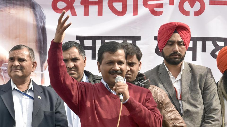 AAP convener Arvind Kejriwal addressing a rally at Naag Kalan village in Majitha constituency on Sunday.