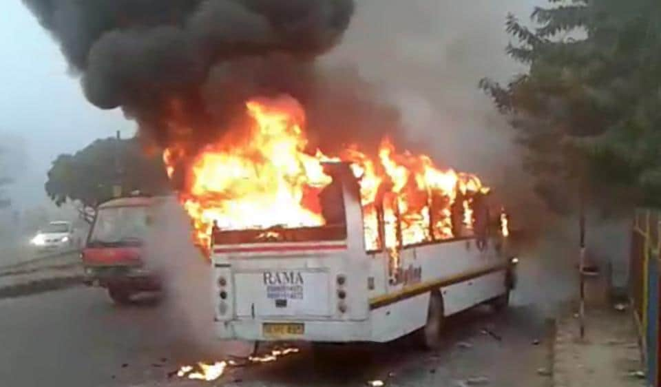 The school bus caught fire near the Huda City Centre Metro station on Monday.