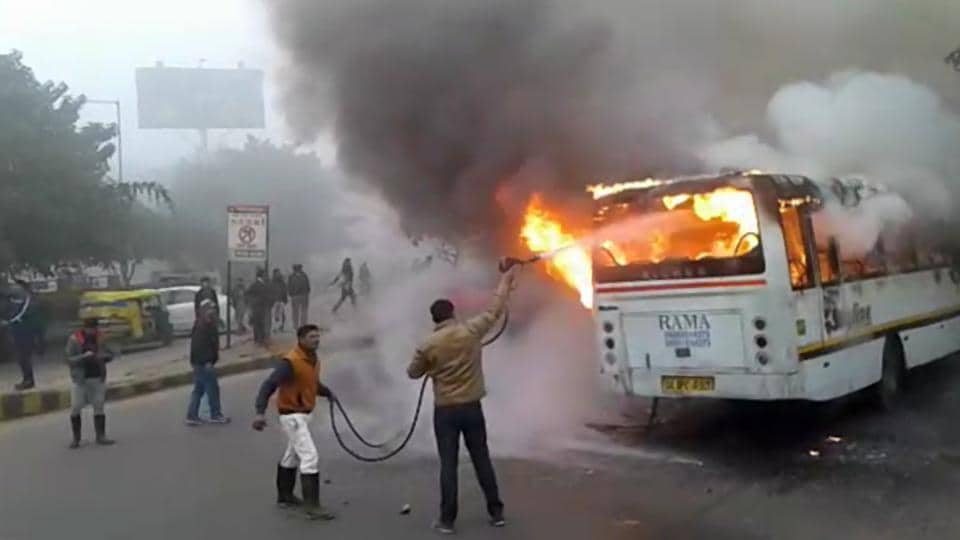 A school bus caught fire near HUDA City Centre Metro station on Monday. All 35 students on board and other staff of Amity International School were deboarded safely.
