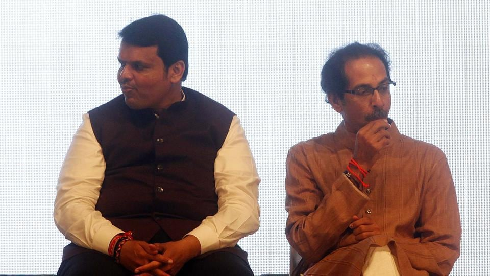 Maharashtra chief minister Devendra Fadnavis (left) and Shiv Sena chief Uddhav Thackeray. After Nagpur, the Sena plans to publish a booklet with allegations of scams by BJP in Maharashtra.