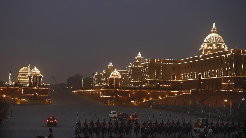 Beating Retreat ceremony against the  illuminated Raisina hills, the Indian government's seat of power, in New Delhi on January 29.