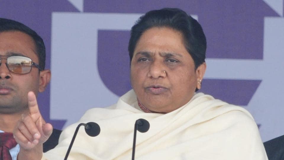 BSP supremo Mayawati addressing a political rally in Phagwara, on Monday.