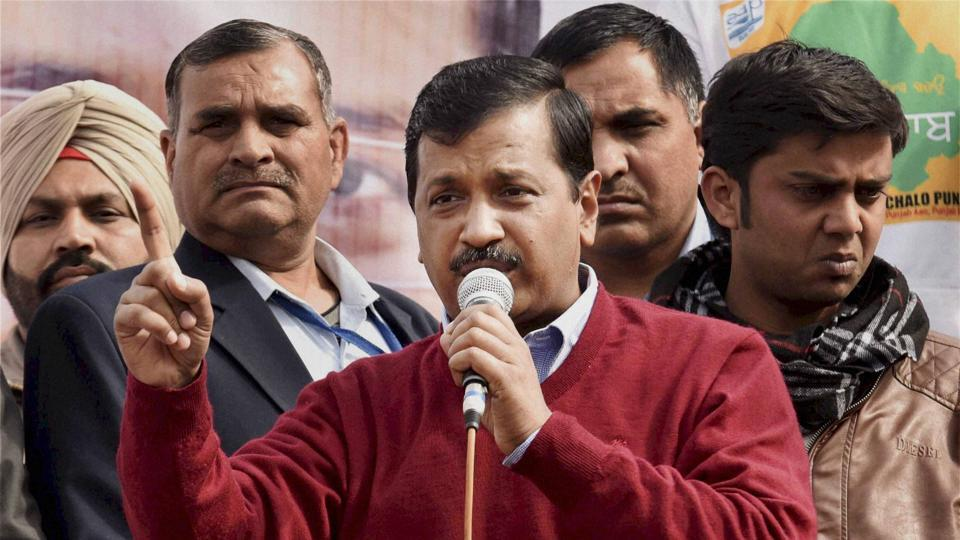 Delhi Chief Minister and Aam Aadmi Party (AAP) national convener Arvind Kejriwal addresses a public rally at Naag Kalan village in Majitha constituency in Amritsar on Sunday.