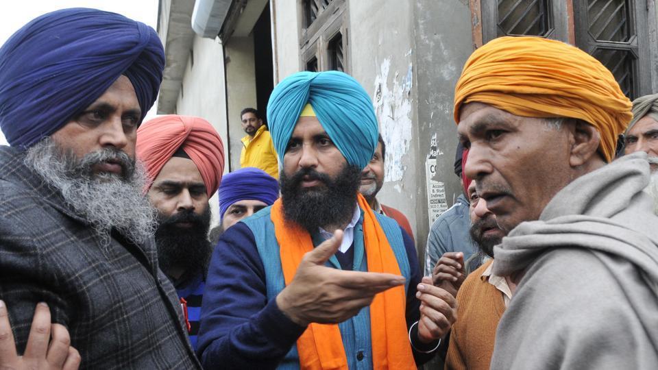 Lok Insaaf Party leader Simarjit Singh Bains campaigning in Atam Nagar, Ludhiana on Friday.