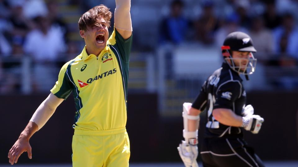 Marcus Stoinis celebrates the wicket of Kane Williamson during the first ODI between New Zealand and Australia on Monday.