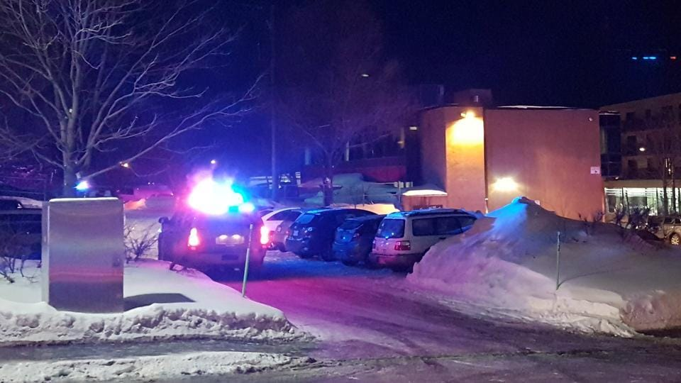Police arrive at the scene of a fatal shooting at the Quebec Islamic Cultural Centre in Quebec City, Canada, January 29, 2017.