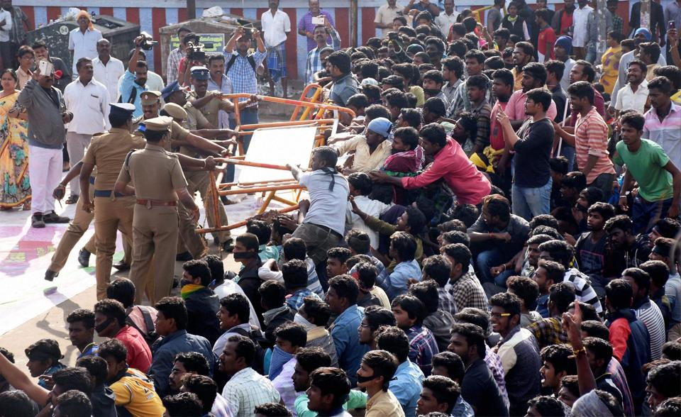 Pro-Jallikattu supporters remove police barricades during a protest in support of the bull-taming sport in Madurai.
