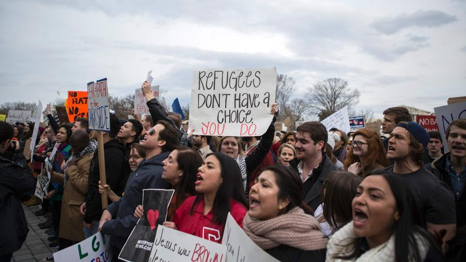 Demonstrators gather outside the Capitol in protest of President Donald Trump's immigration policies in Washington, DC.  (Chet Strange/AFP)