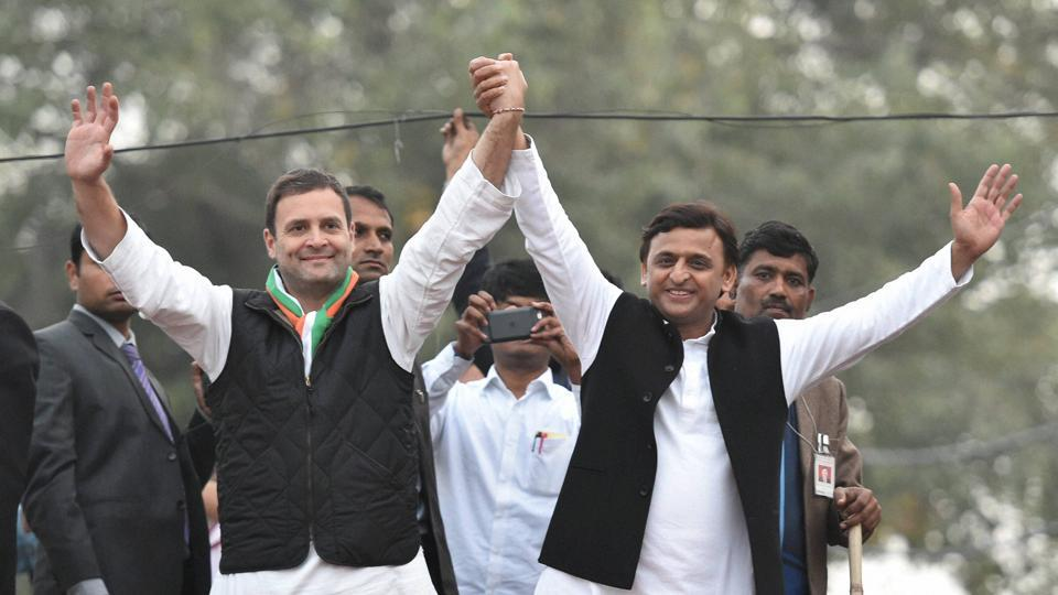 Uttar Pradesh chief minister and Samajwadi Party president Akhilesh Yadav (right) and Congress vice-president Rahul Gandhi during their road show in Lucknow on January 29, 2017.