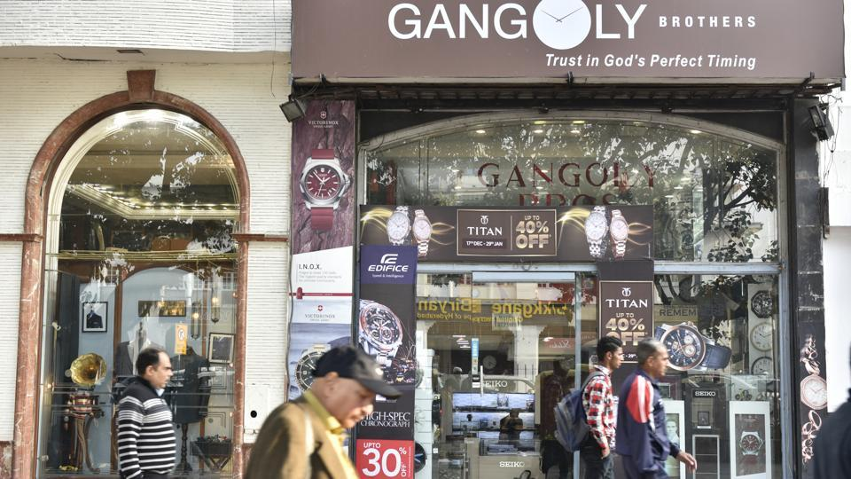 Gangoly Brothers, a watch showroom, in Connaught Place where a burglary took place on Friday night.