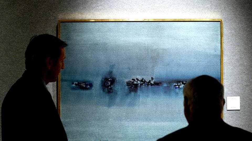 A painting by Indian artist Vasudeo Gaitonde is seen on display at the Bonhams auction house in New York. (Photo: AFP)