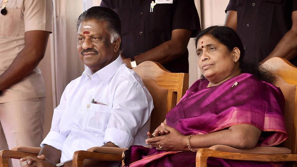 Tamil Nadu chief minister O Panneerselvam and his wife Vijayalakshmi.