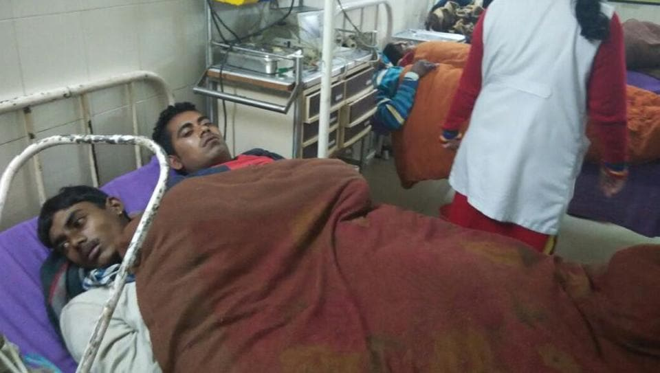 People injured in the clash being treated at the Hisar Civil Hospital.