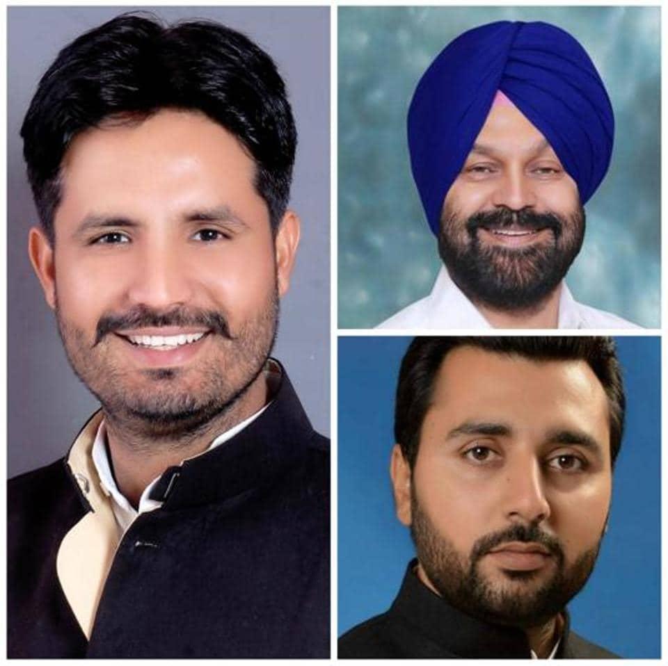 (clockwise from left) Amrinder Singh Raja Warring (Congress), Hardeep Singh Dimpy Dhillon (SAD) and Jagdeep Singh Sandhu (AAP).