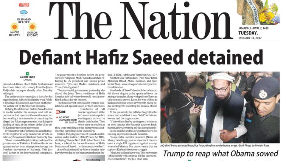 Image grab of the front page report in Pakistan's The Nation daily on the detention of Jamaat-ud-Dawah chief Hafiz Saeed on Monday night.