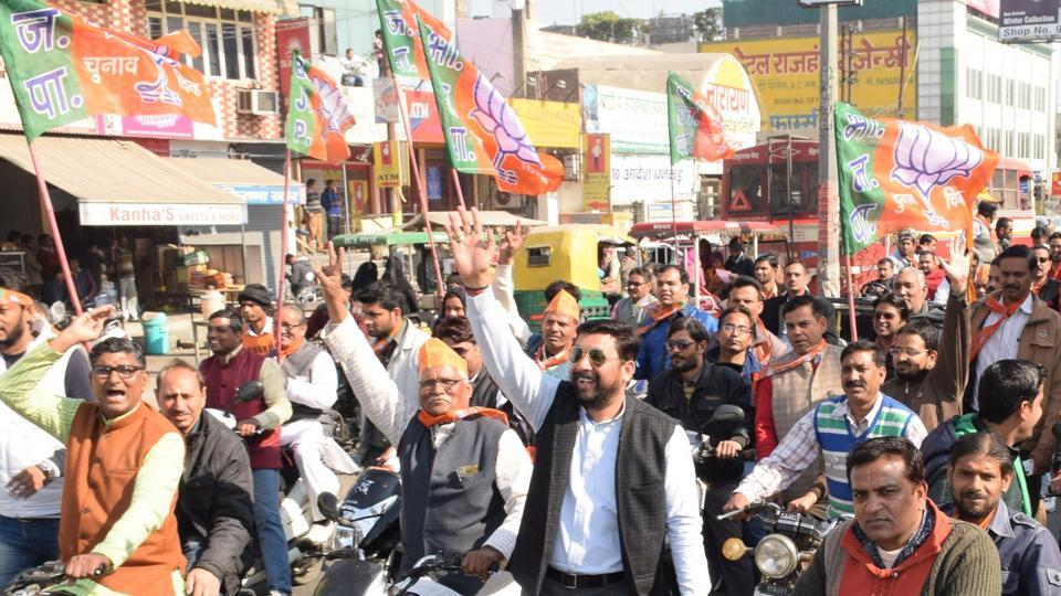 A motorcycle rally being taken out by BJP workers in support of party candidate as campaigning intensifies in Meerut ahead of first phase polling.