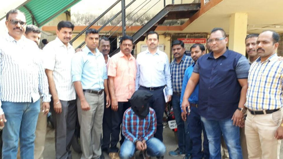 The Navghar police and Local Crime Branch, Thane (rural) after arresting Vinayak Ramesh Apur  on Tuesday.