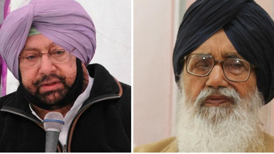Congress chief Captain Amarinder Singh  and (left) Punjab chief minister Parkash Singh Badal.