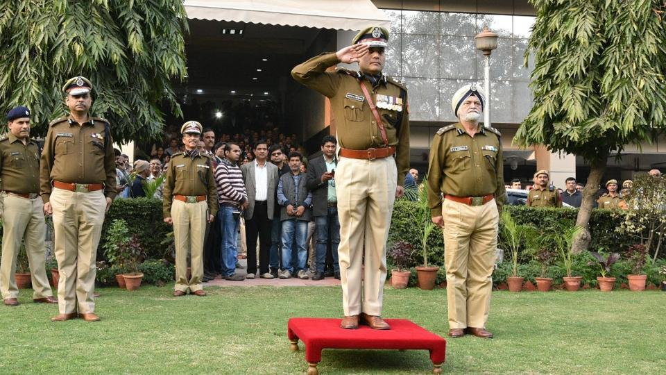 Amulya Patnaik, a former special commissioner with the Delhi Police, at police headquarters while taking over the charge as Delhi Police commissioner.