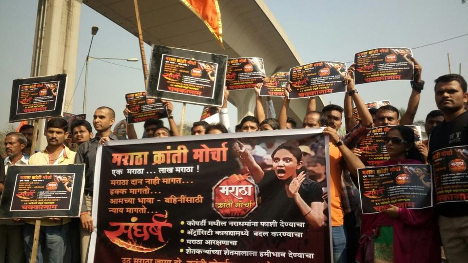 Protesters demand Maratha quota at Chembur in Mumbai on Tuesday.