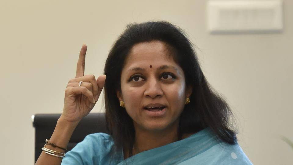 NCP leader Supriya Sule interacts with HT's journalists during a visit the Mumbai office on Monday.