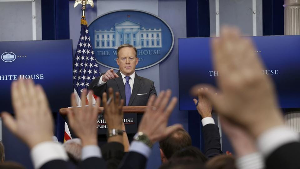 White House spokesman Sean Spicer takes questions during his press briefing at the White House in Washington, U.S., January 30, 2017. REUTERS/Kevin Lamarque