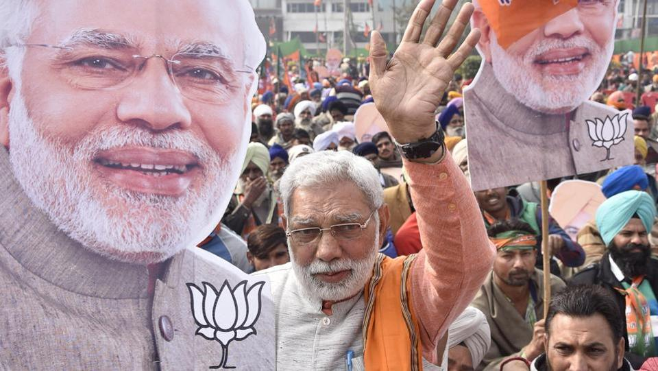 A lookalike of Prime Minister Narendra Modi, Ranveer Singh Dahiya, at the rally of BJP president Amit Shah in Amritsar on Monday.