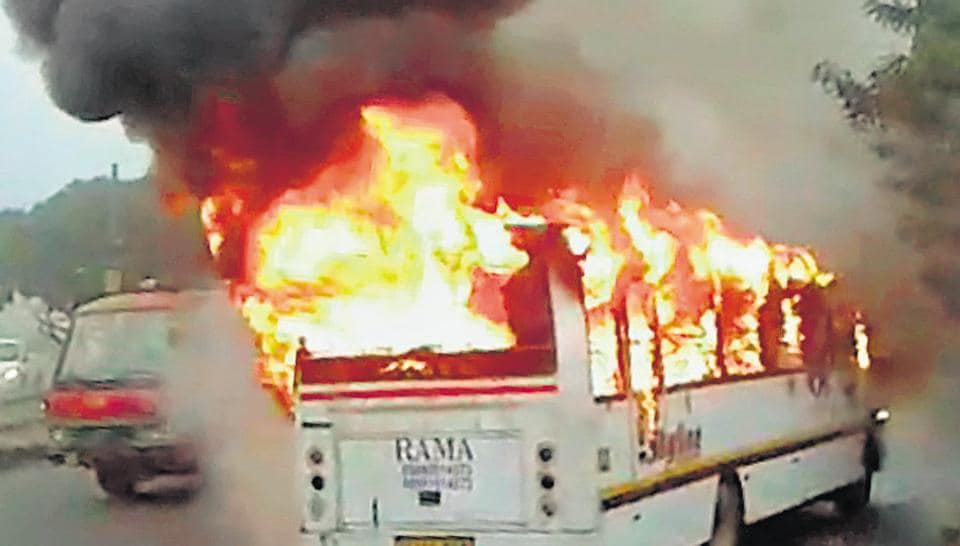 The school bus carrying 35 students and four staff members caught fire near the busy Huda city centre metro station on Monday morning.