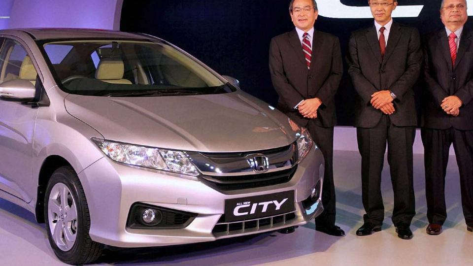 A launch of new generation of Honda City in New Delhi in 2014.