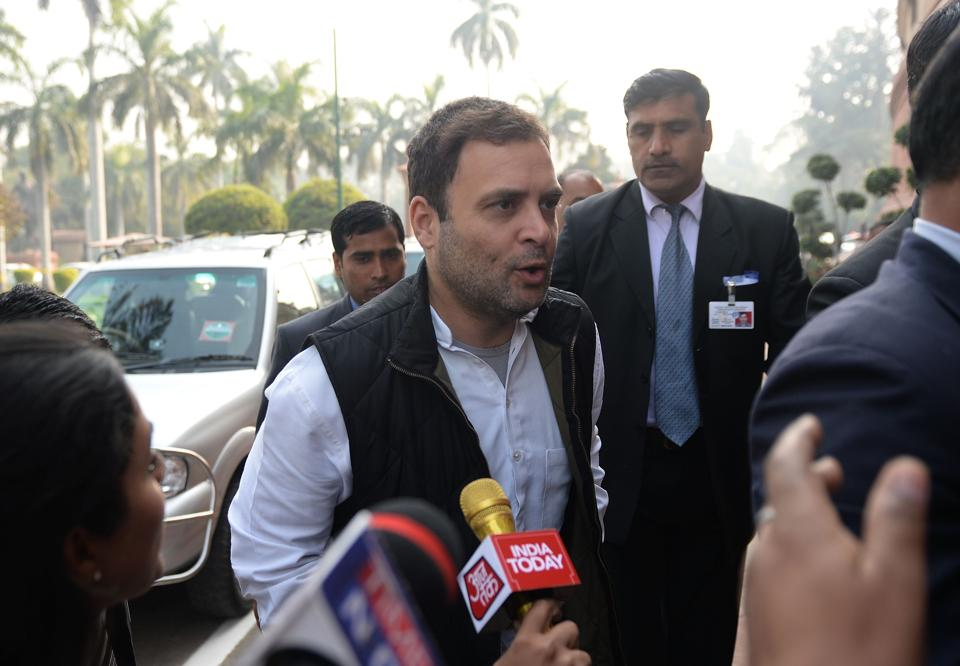 Congress vice-president Rahul Gandhi arrives for the Budget session of Parliament in New Delhi on Tuesday.