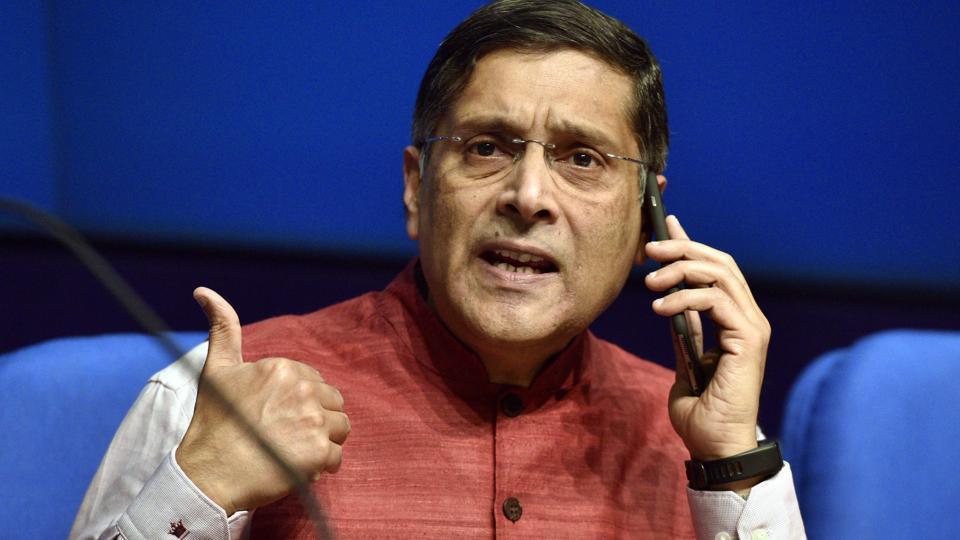 Chief economic adviser Arvind Subramanian addresses media in New Delhi.