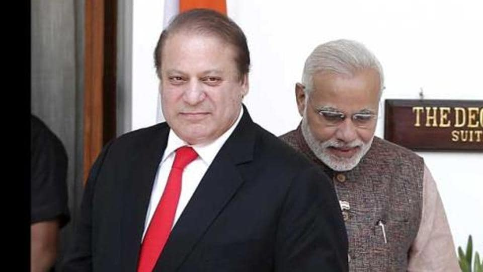 Pakistan's Prime Minister Nawaz Sharif arrives for his bilateral meeting with his Indian counterpart Narendra Modi in New Delhi.