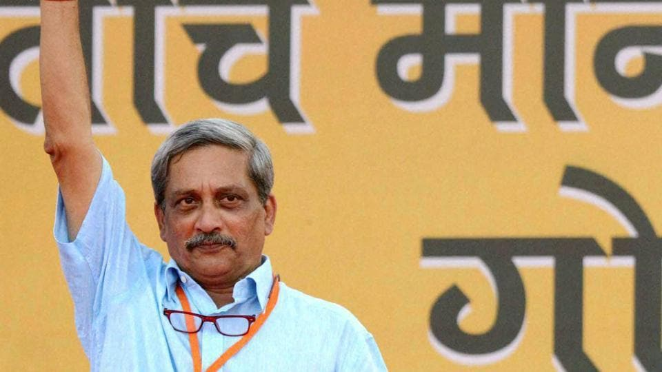 Defence minister Manohar Parrikar during an election campaign rally at Campal, Panaji in Goa on Saturday.