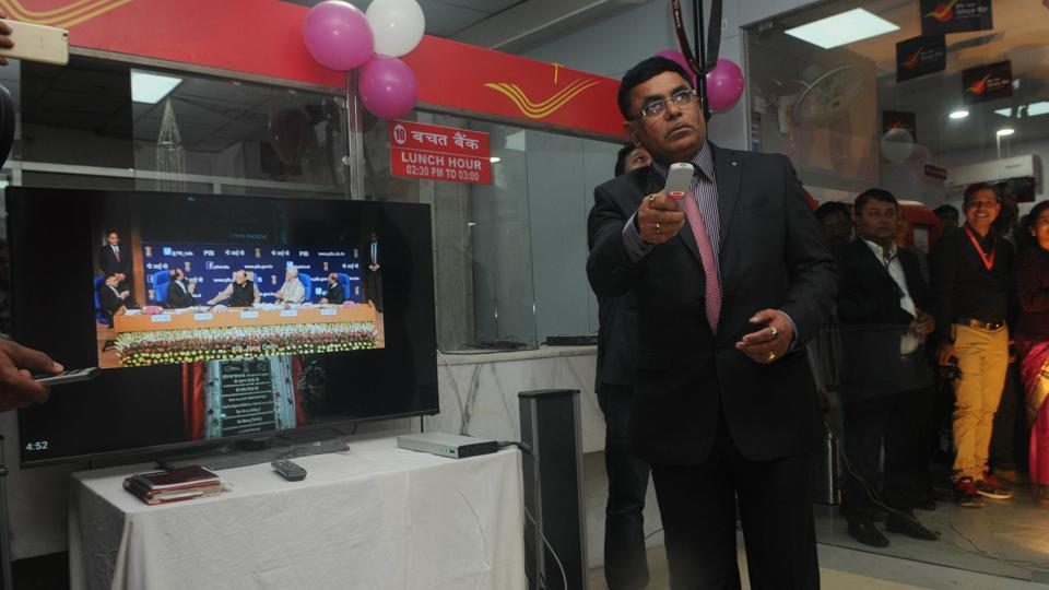 Anil Kumar , chief post master general, Jharkhand circle exhibiting the online inauguration of India Post Payment Bank  on Monday,
