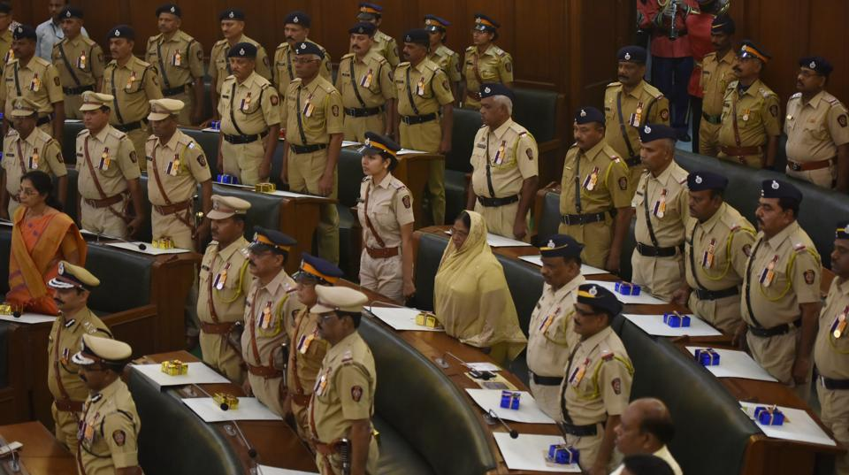 Standing tall: Winners of the President's Police Medal at the Mumbai police headquarters. (Anshuman Poyrekar/HT PHOTO)